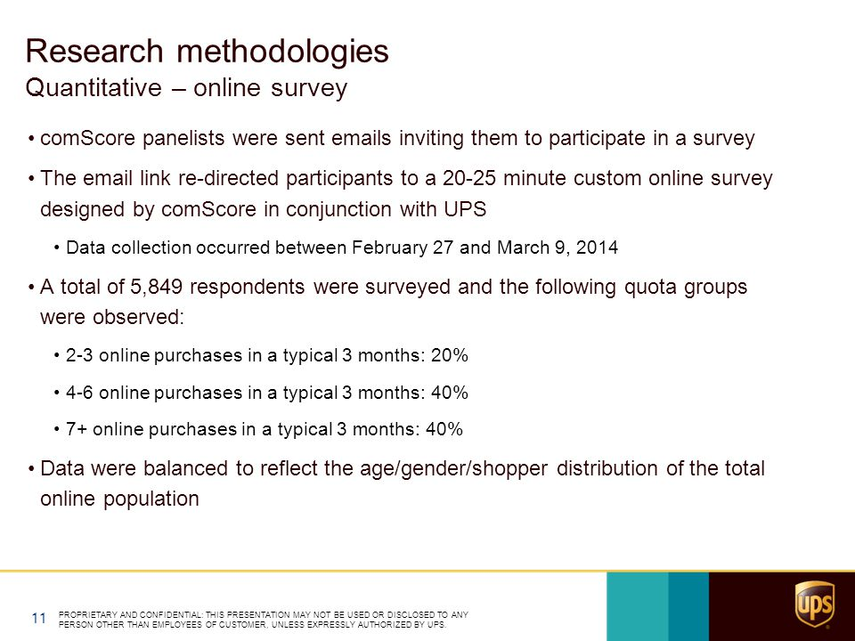 comScore panelists were sent emails inviting them to participate in a survey The email link re-directed participants to a 20-25 minute custom online survey designed by comScore in conjunction with UPS Data collection occurred between February 27 and March 9, 2014 A total of 5,849 respondents were surveyed and the following quota groups were observed: 2-3 online purchases in a typical 3 months: 20% 4-6 online purchases in a typical 3 months: 40% 7+ online purchases in a typical 3 months: 40% Data were balanced to reflect the age/gender/shopper distribution of the total online population PROPRIETARY AND CONFIDENTIAL: THIS PRESENTATION MAY NOT BE USED OR DISCLOSED TO ANY PERSON OTHER THAN EMPLOYEES OF CUSTOMER, UNLESS EXPRESSLY AUTHORIZED BY UPS.