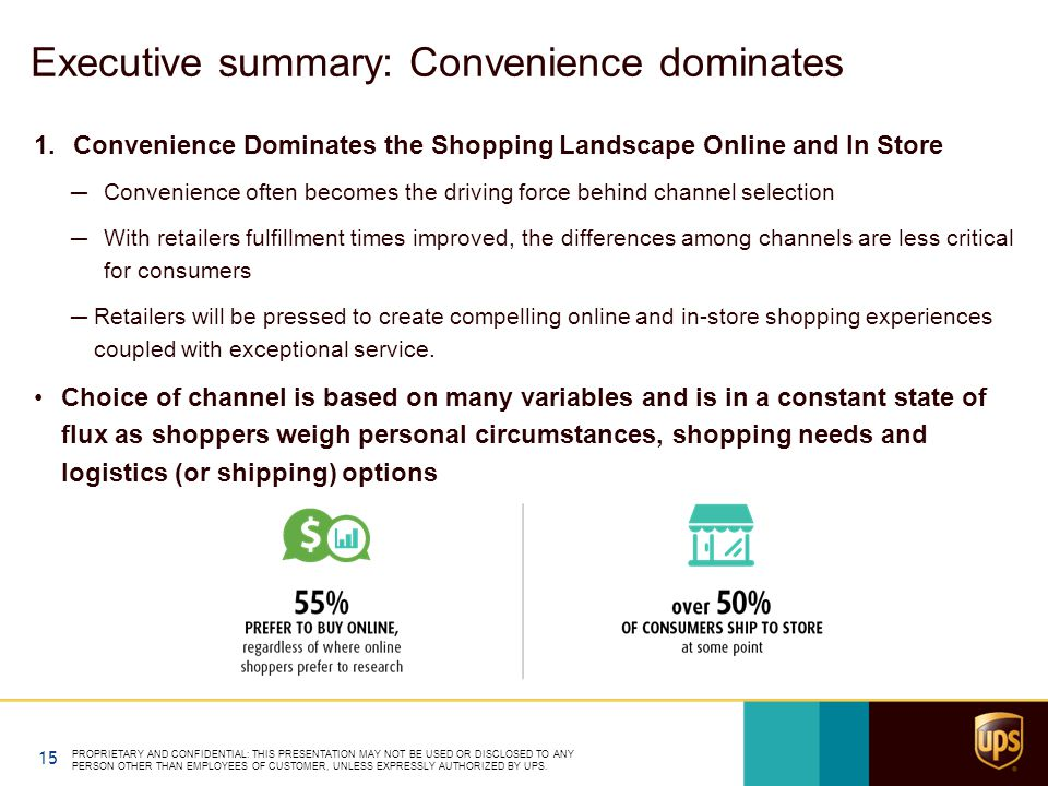 Executive summary: Convenience dominates 1.Convenience Dominates the Shopping Landscape Online and In Store ─Convenience often becomes the driving force behind channel selection ─With retailers fulfillment times improved, the differences among channels are less critical for consumers ─Retailers will be pressed to create compelling online and in-store shopping experiences coupled with exceptional service.