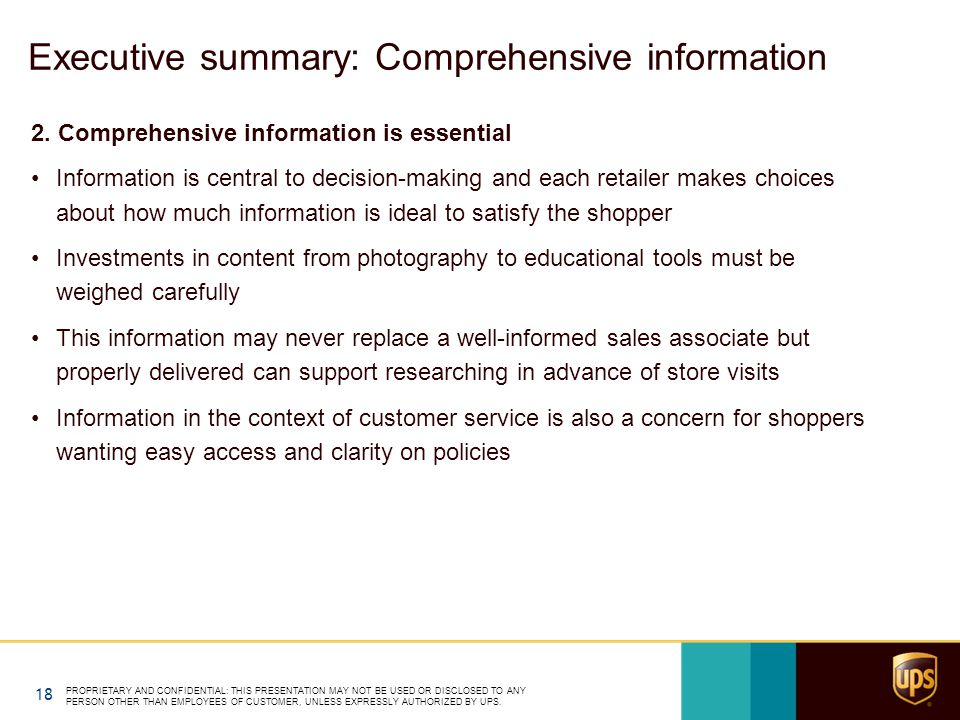 Executive summary: Comprehensive information 2.