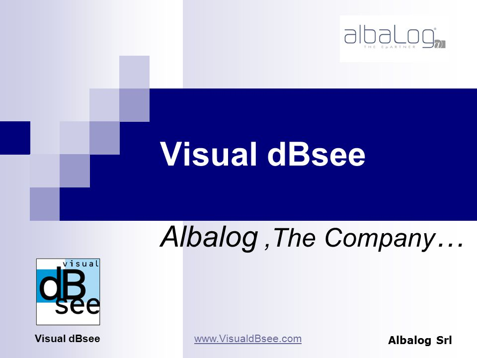 Visual dBsee Albalog,The Company … Albalog Srl Visual dBseewww.VisualdBsee.com