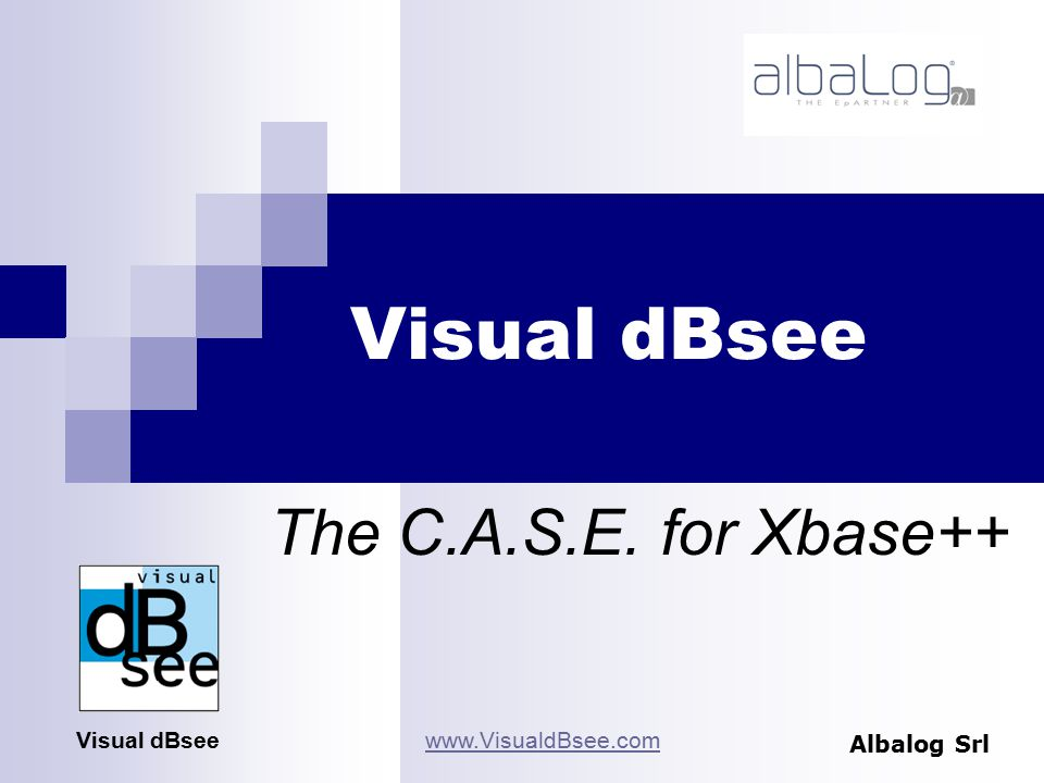Visual dBsee Albalog Srl Visual dBseewww.VisualdBsee.com The C.A.S.E. for Xbase++