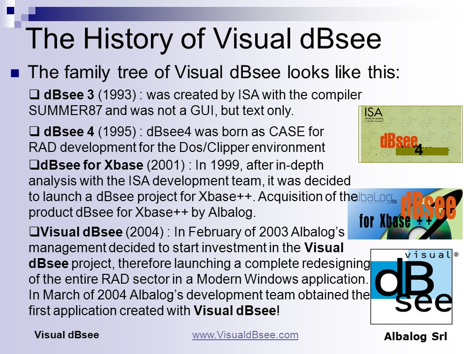 The History of Visual dBsee The family tree of Visual dBsee looks like this: Visual dBseewww.VisualdBsee.com Albalog Srl 4  dBsee 3 (1993) : was created by ISA with the compiler SUMMER87 and was not a GUI, but text only.