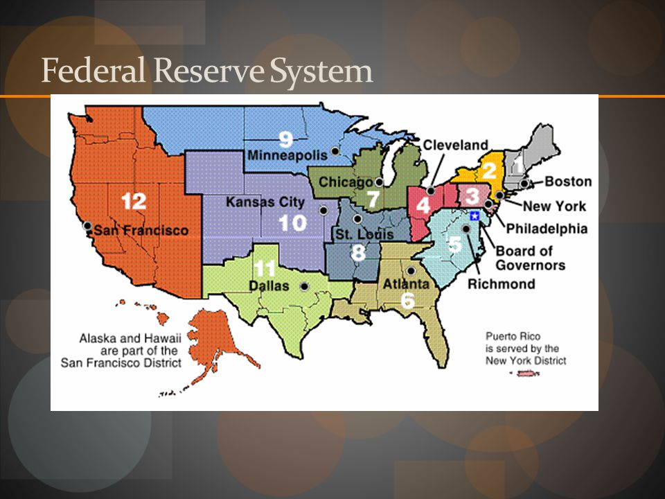 Federal Reserve Act of 1913 12 Districts in the country Each with a central reserve bank-Banker's Bank Ruled by Federal Reserve Board (members appoint