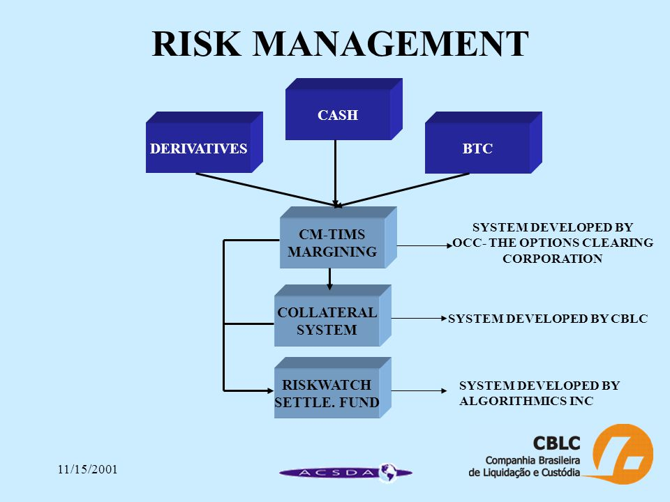 11/15/2001 RISK MANAGEMENT CASH DERIVATIVESBTC CM-TIMS MARGINING COLLATERAL SYSTEM RISKWATCH SETTLE.