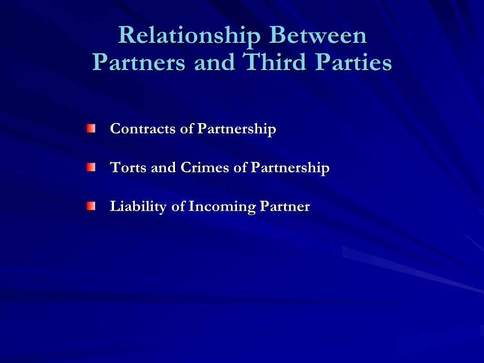 Relationship Between Partners and Third Parties Contracts of Partnership Torts and Crimes of Partnership Liability of Incoming Partner