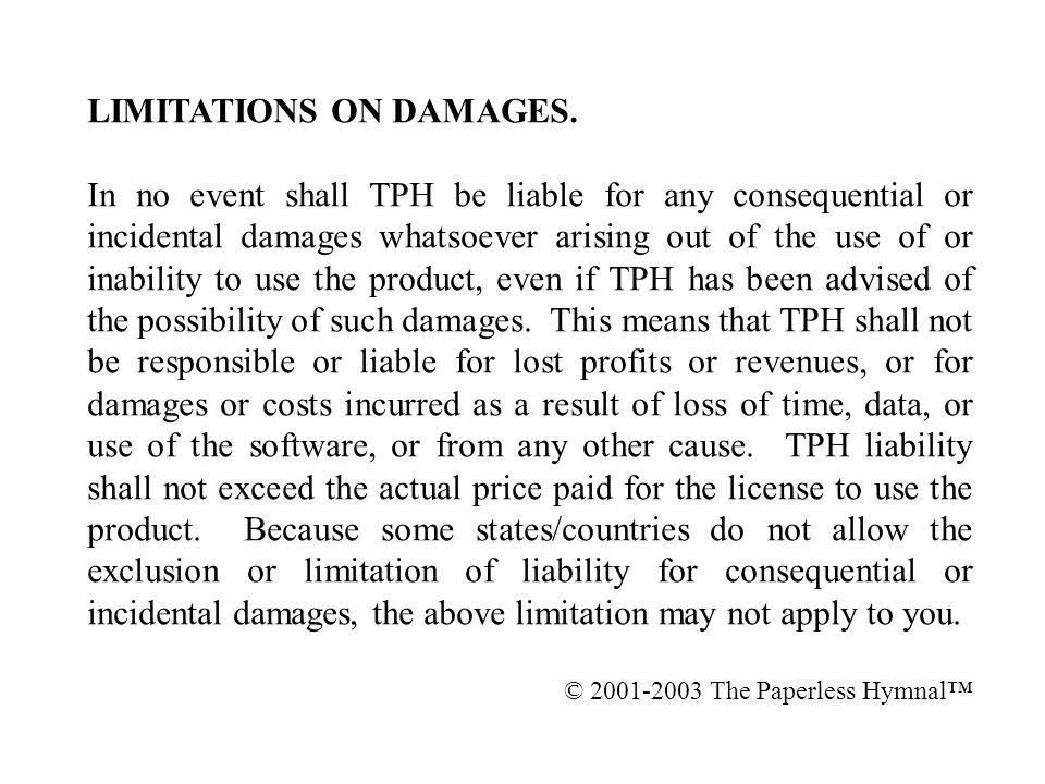 LIMITATIONS ON DAMAGES.