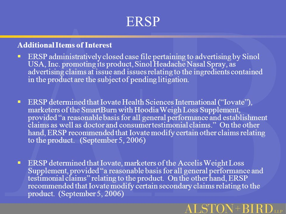 ERSP Additional Items of Interest  ERSP administratively closed case file pertaining to advertising by Sinol USA, Inc.