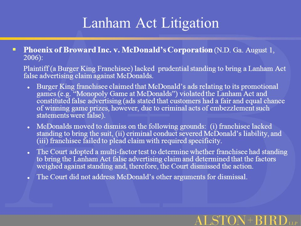 Lanham Act Litigation  Phoenix of Broward Inc. v.
