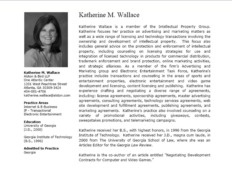Katherine Wallace  Katherine Wallace is a member of the Intellectual Property Group.