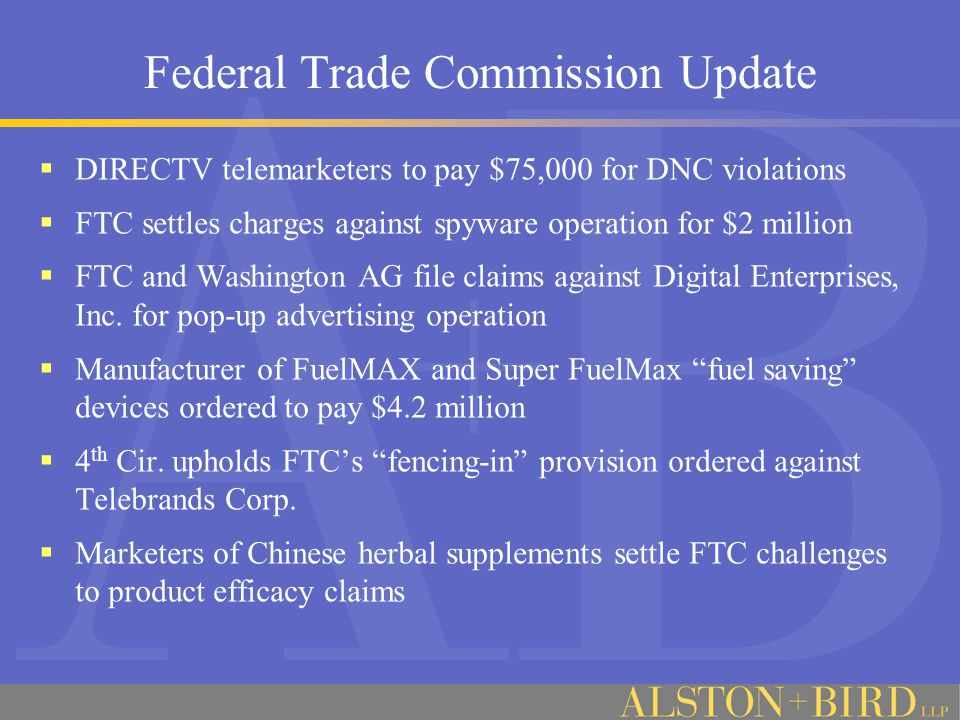 Federal Trade Commission Update  DIRECTV Telemarketers to pay $75,000 penalty for DNC violations.