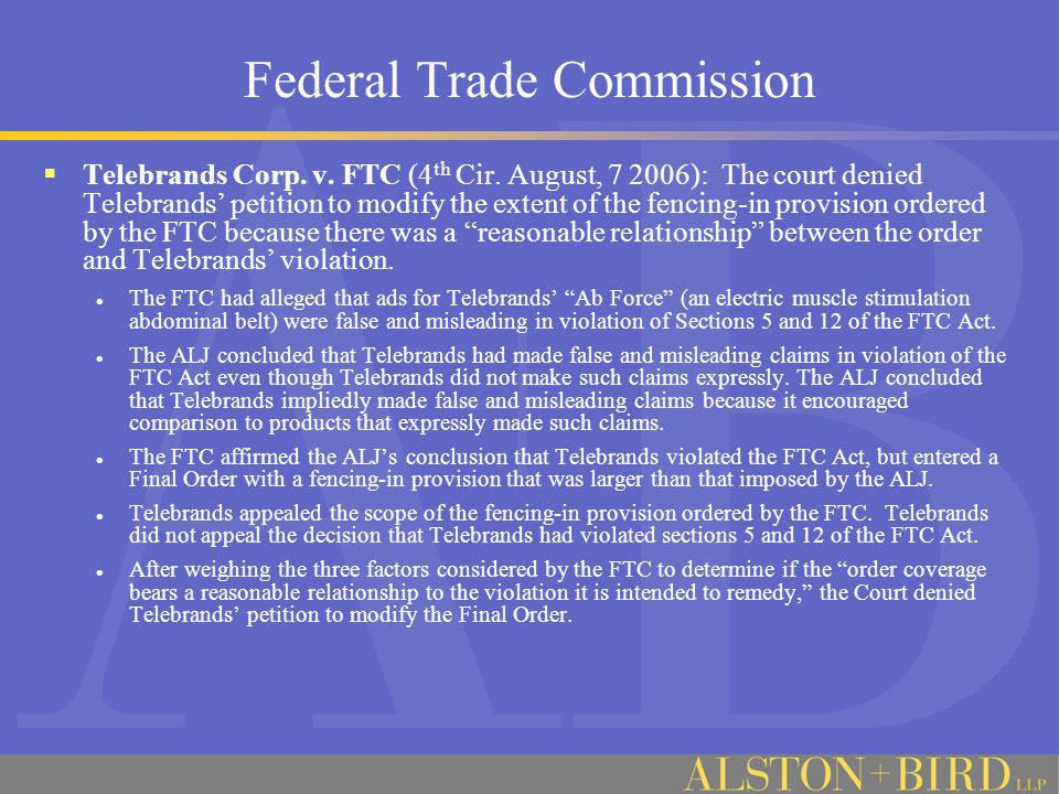 Federal Trade Commission  Marketers of Chinese herbal supplement settle FTC challenges to product efficacy claims.