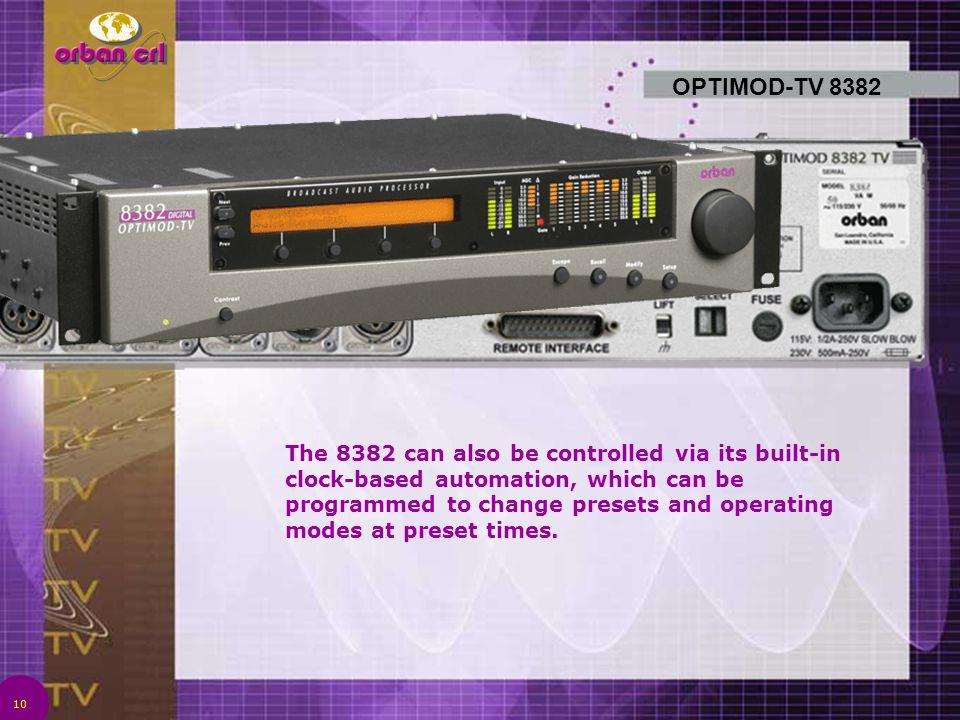 10 OPTIMOD-TV 8382 The 8382 can also be controlled via its built-in clock-based automation, which can be programmed to change presets and operating mo