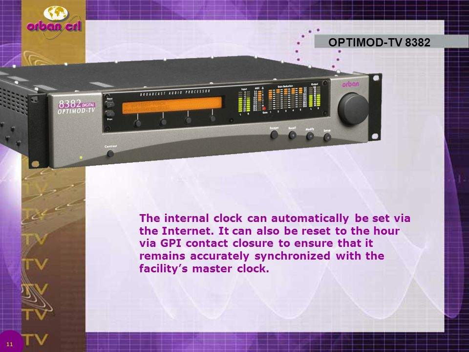 11 OPTIMOD-TV 8382 The internal clock can automatically be set via the Internet. It can also be reset to the hour via GPI contact closure to ensure th