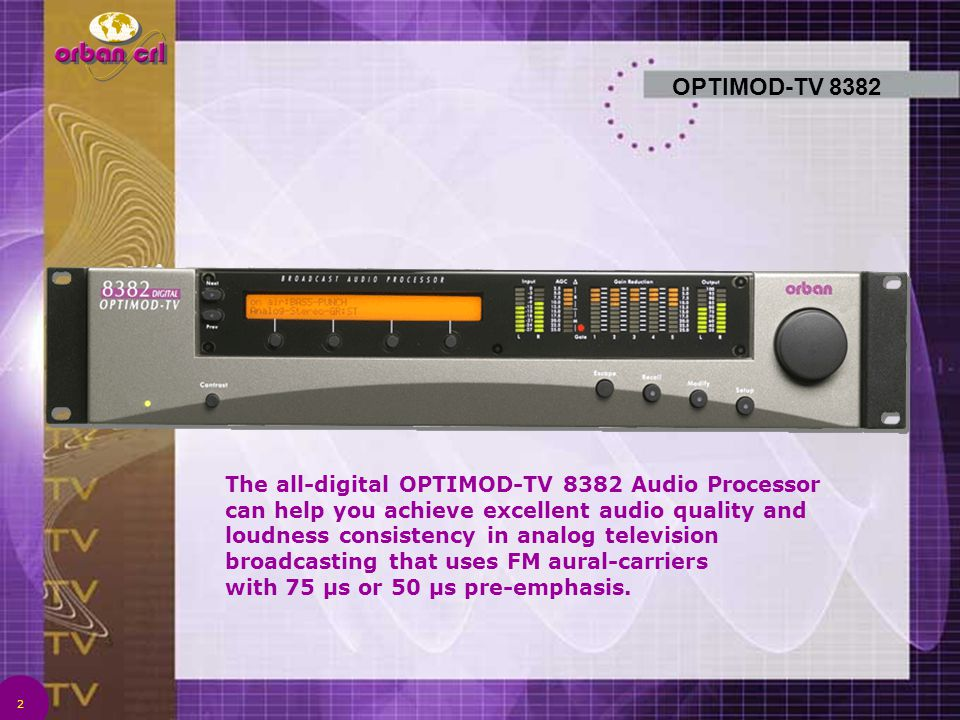 2 OPTIMOD-TV 8382 The all-digital OPTIMOD-TV 8382 Audio Processor can help you achieve excellent audio quality and loudness consistency in analog tele