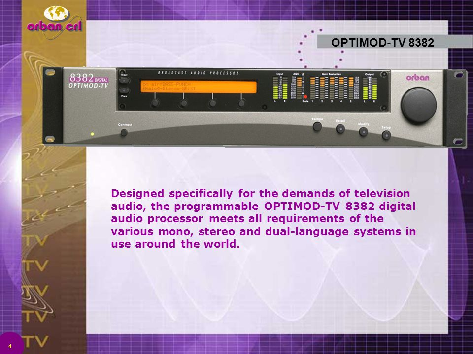 4 OPTIMOD-TV 8382 Designed specifically for the demands of television audio, the programmable OPTIMOD-TV 8382 digital audio processor meets all requir