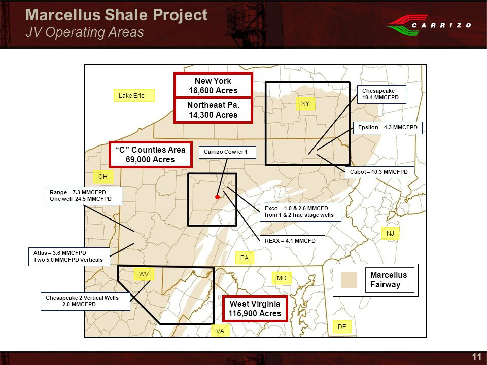 11 Marcellus Shale Project JV Operating Areas New York 16,600 Acres C Counties Area 69,000 Acres West Virginia 115,900 Acres Cabot – 10.3 MMCFPD Epsilon – 4.3 MMCFPD Range – 7.3 MMCFPD One well 24.5 MMCFPD Chesapeake 2 Vertical Wells 2.0 MMCFPD Atlas – 3.6 MMCFPD Two 5.0 MMCFPD Verticals Exco – 1.0 & 2.6 MMCFD from 1 & 2 frac stage wells Carrizo Cowfer 1 Marcellus Fairway Lake Erie OH NY WV PA VA MD DE NJ Northeast Pa.