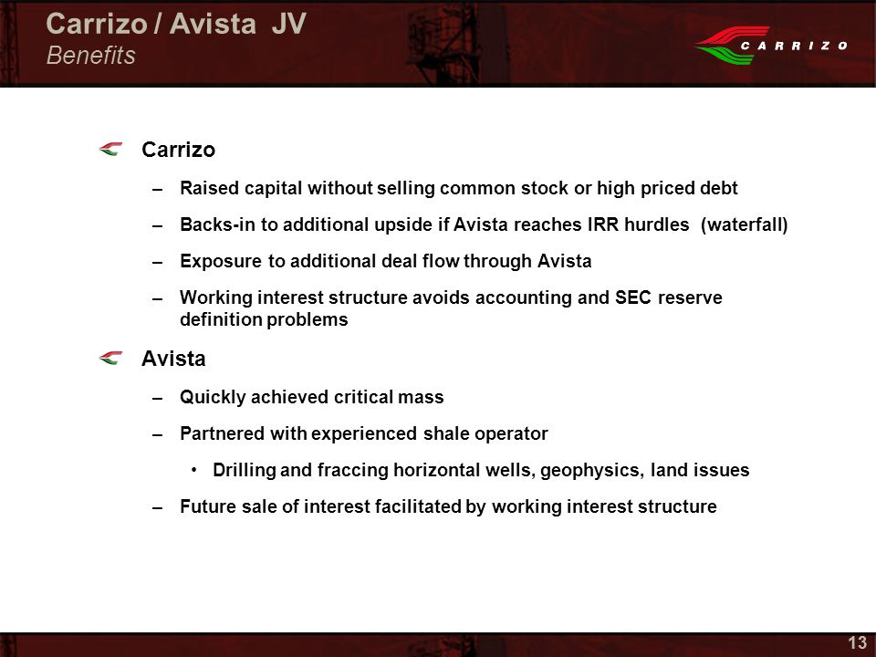 13 Carrizo –Raised capital without selling common stock or high priced debt –Backs-in to additional upside if Avista reaches IRR hurdles (waterfall) –Exposure to additional deal flow through Avista –Working interest structure avoids accounting and SEC reserve definition problems Avista –Quickly achieved critical mass –Partnered with experienced shale operator Drilling and fraccing horizontal wells, geophysics, land issues –Future sale of interest facilitated by working interest structure Carrizo / Avista JV Benefits