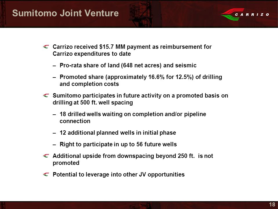 18 Sumitomo Joint Venture Carrizo received $15.7 MM payment as reimbursement for Carrizo expenditures to date –Pro-rata share of land (648 net acres) and seismic –Promoted share (approximately 16.6% for 12.5%) of drilling and completion costs Sumitomo participates in future activity on a promoted basis on drilling at 500 ft.