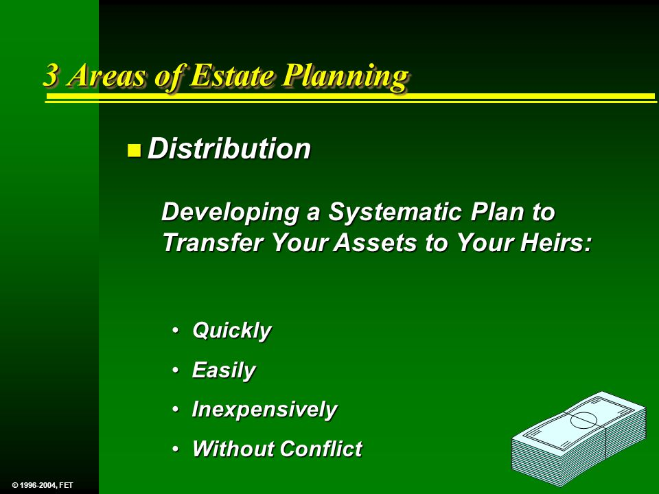 3 Areas of Estate Planning n Distribution Developing a Systematic Plan to Transfer Your Assets to Your Heirs: Quickly Quickly Easily Easily Inexpensively Inexpensively Without Conflict Without Conflict © 1996-2004, FET