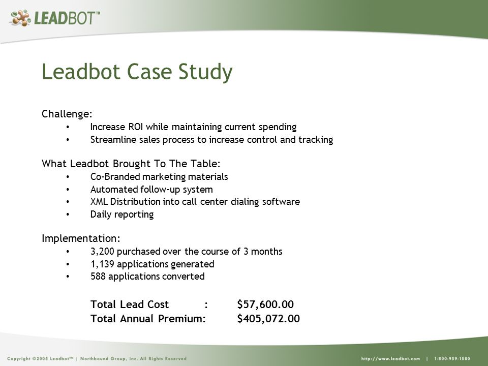 Leadbot Case Study Challenge: Increase ROI while maintaining current spending Streamline sales process to increase control and tracking What Leadbot Brought To The Table: Co-Branded marketing materials Automated follow-up system XML Distribution into call center dialing software Daily reporting Implementation: 3,200 purchased over the course of 3 months 1,139 applications generated 588 applications converted Total Lead Cost :$57,600.00 Total Annual Premium:$405,072.00
