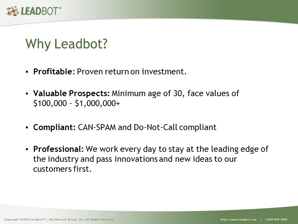 Why Leadbot. Profitable: Proven return on investment.