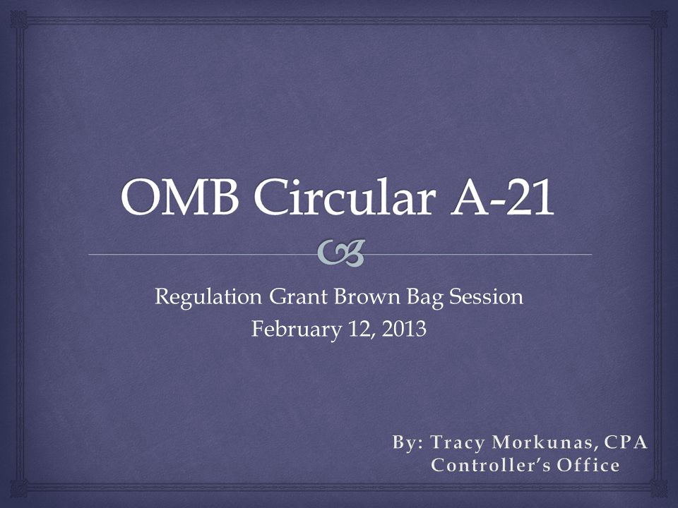 Regulation Grant Brown Bag Session February 12, 2013