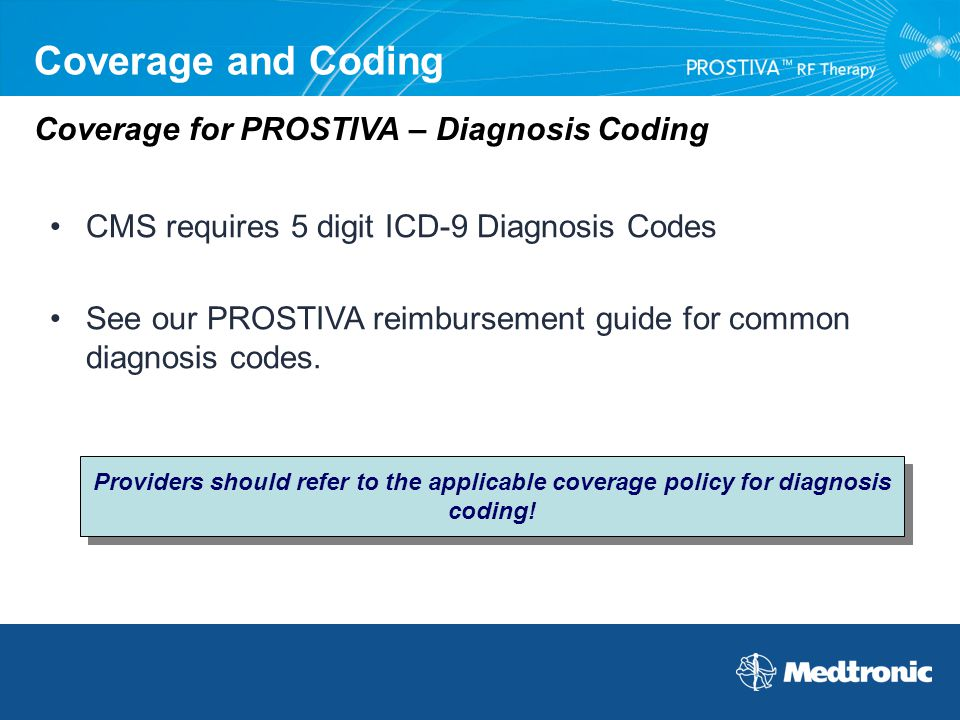Coverage and Coding CMS requires 5 digit ICD-9 Diagnosis Codes See our PROSTIVA reimbursement guide for common diagnosis codes. Coverage for PROSTIVA