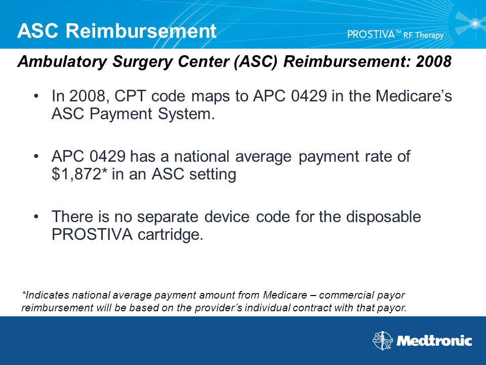ASC Reimbursement In 2008, CPT code maps to APC 0429 in the Medicare's ASC Payment System. APC 0429 has a national average payment rate of $1,872* in