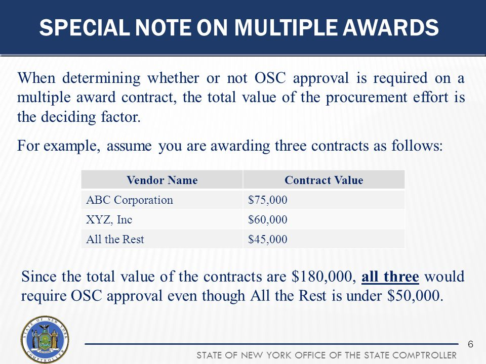 STATE OF NEW YORK OFFICE OF THE STATE COMPTROLLER 6 SPECIAL NOTE ON MULTIPLE AWARDS When determining whether or not OSC approval is required on a mult