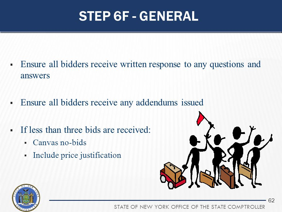STATE OF NEW YORK OFFICE OF THE STATE COMPTROLLER 62 STEP 6F - GENERAL  Ensure all bidders receive written response to any questions and answers  En