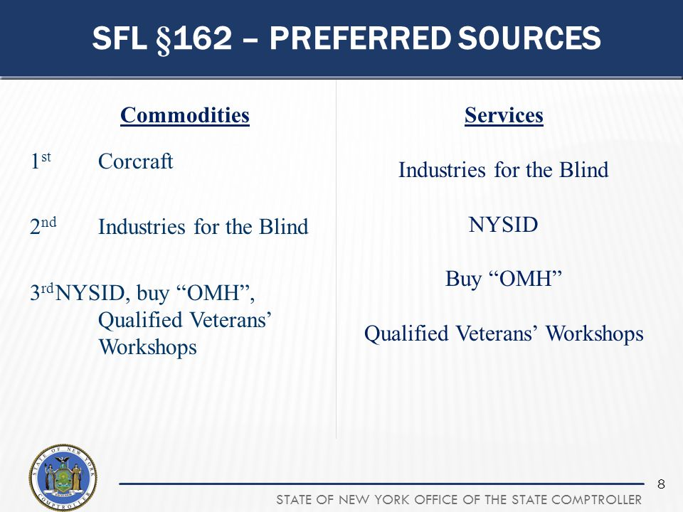 STATE OF NEW YORK OFFICE OF THE STATE COMPTROLLER 8 SFL §162 – PREFERRED SOURCES Commodities 1 st Corcraft 2 nd Industries for the Blind 3 rd NYSID, b