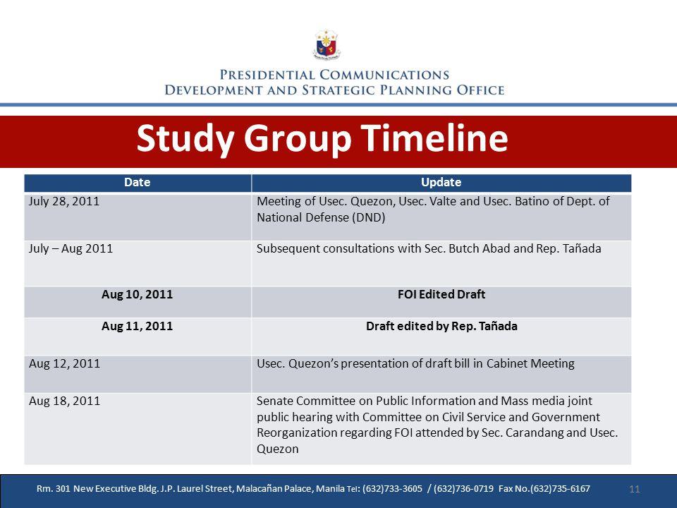 Study Group Timeline Rm. 301 New Executive Bldg. J.P.