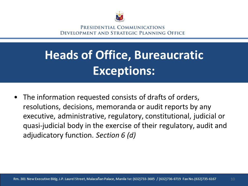 27 Rm. 301 New Executive Bldg. J.P. Laurel Street, Malacañan Palace, Manila Tel : (632)733-3605 / (632)736-0719 Fax No.(632)735-6167 Heads of Office,