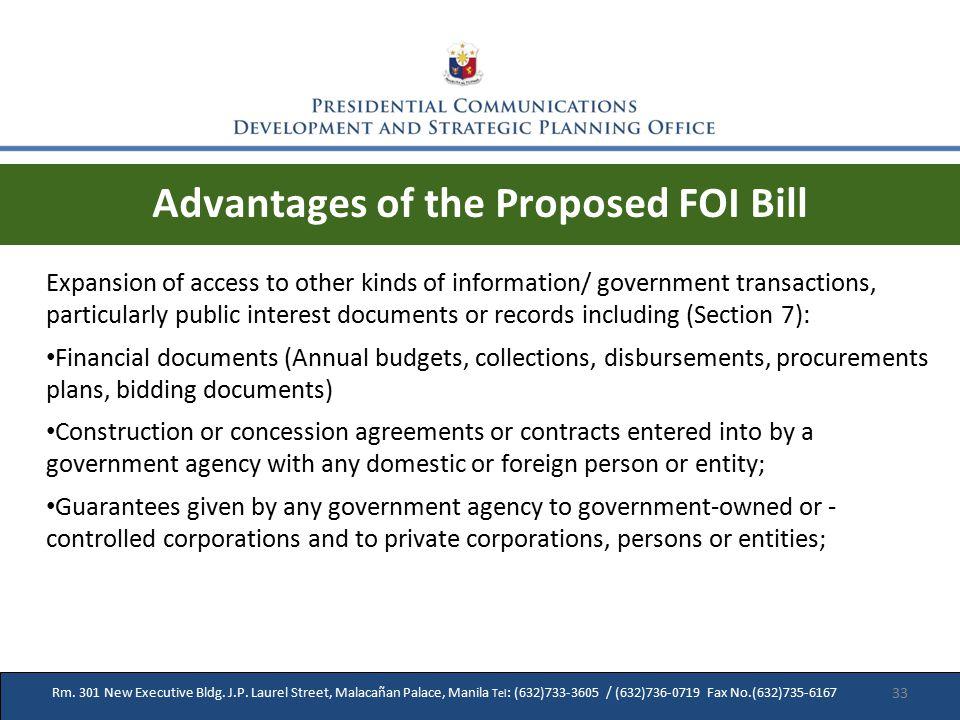 Rm. 301 New Executive Bldg. J.P. Laurel Street, Malacañan Palace, Manila Tel : (632)733-3605 / (632)736-0719 Fax No.(632)735-6167 Advantages of the Pr