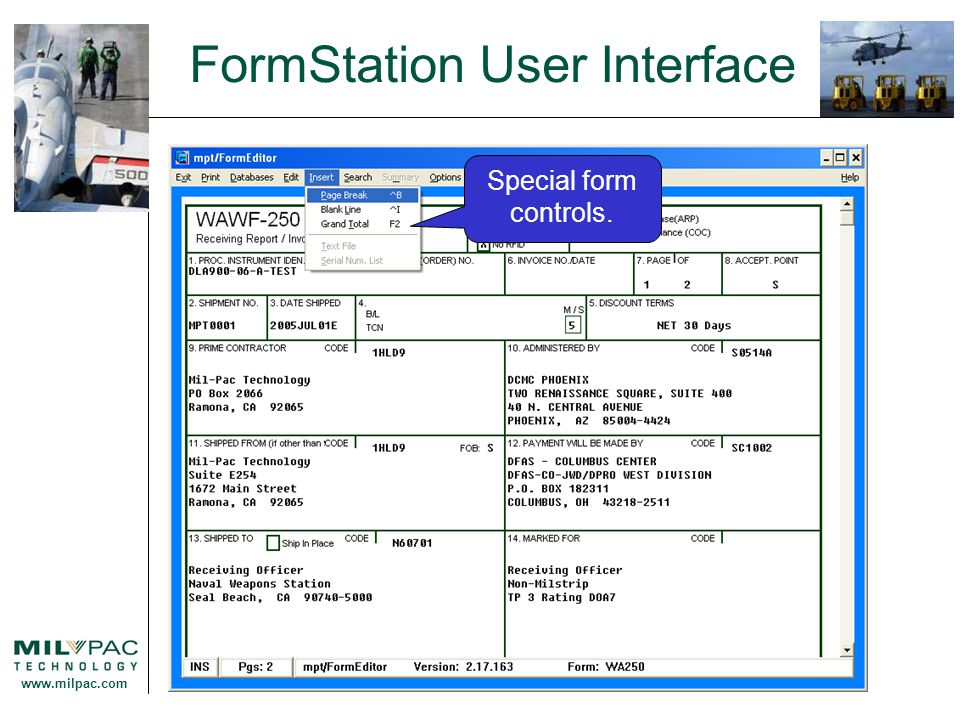 www.milpac.com FormStation User Interface Special form controls.