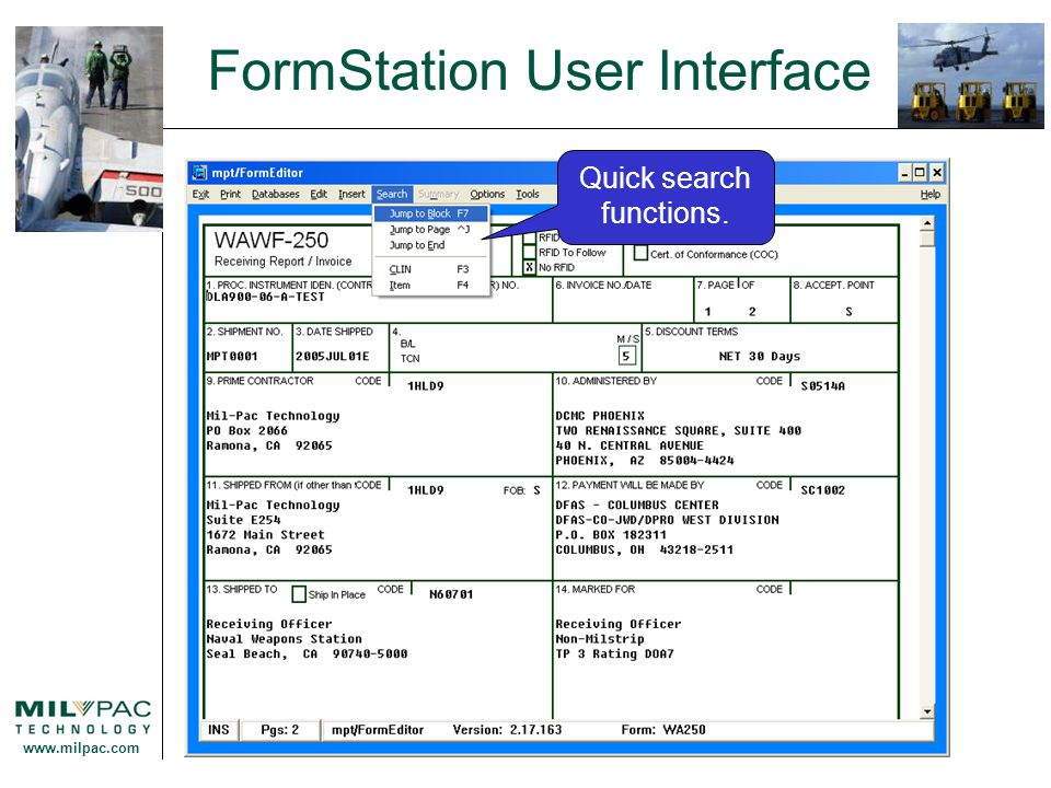 www.milpac.com FormStation User Interface Quick search functions.