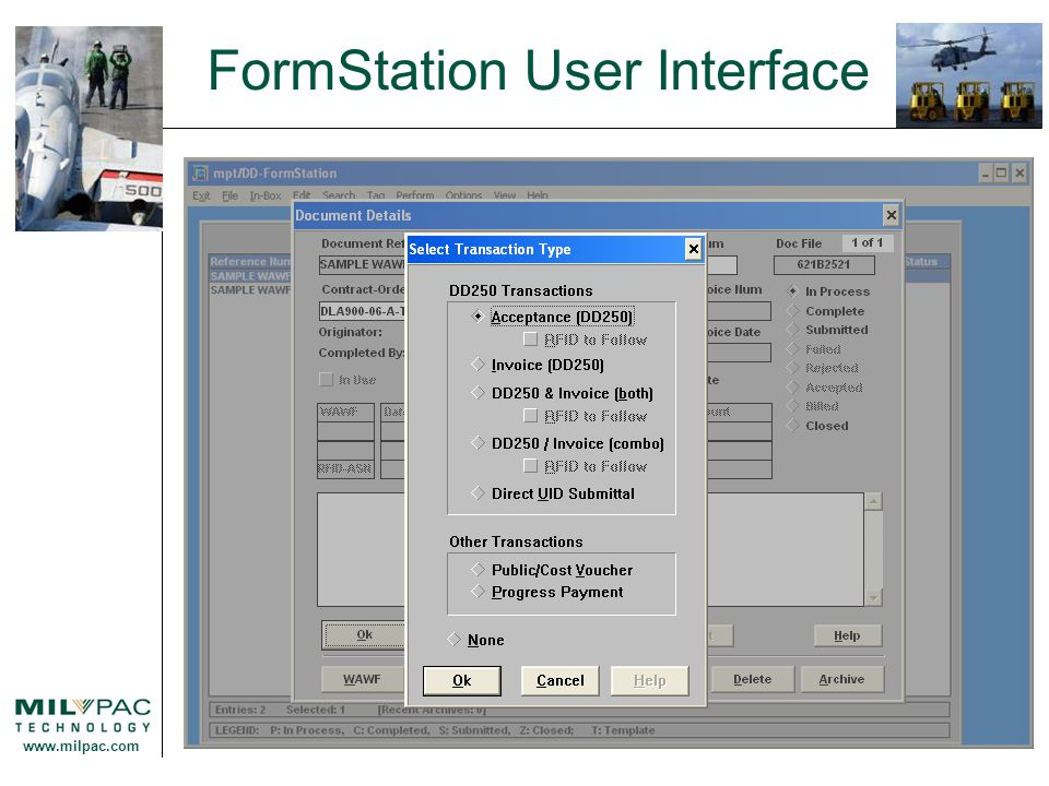 www.milpac.com FormStation User Interface
