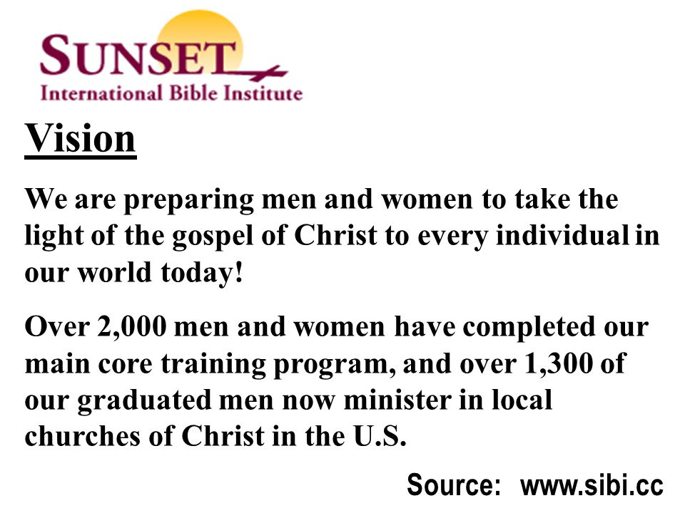 Thematic Studies In Bible Basics Source: www.sibi.cc Vision We are preparing men and women to take the light of the gospel of Christ to every individual in our world today.