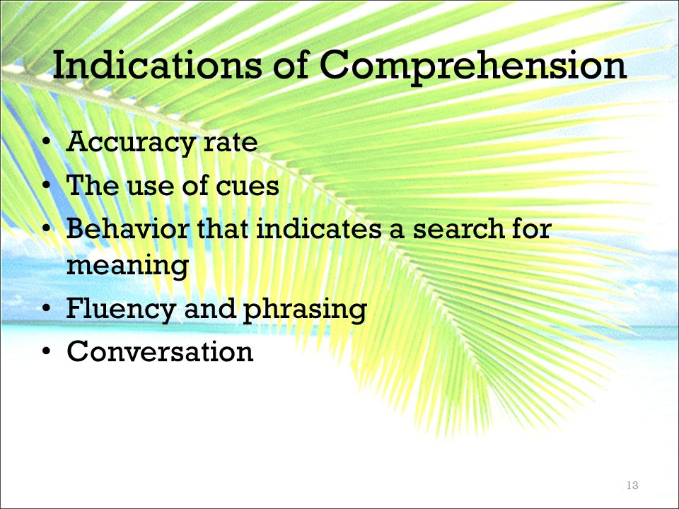 Indications of Comprehension Accuracy rate The use of cues Behavior that indicates a search for meaning Fluency and phrasing Conversation 13