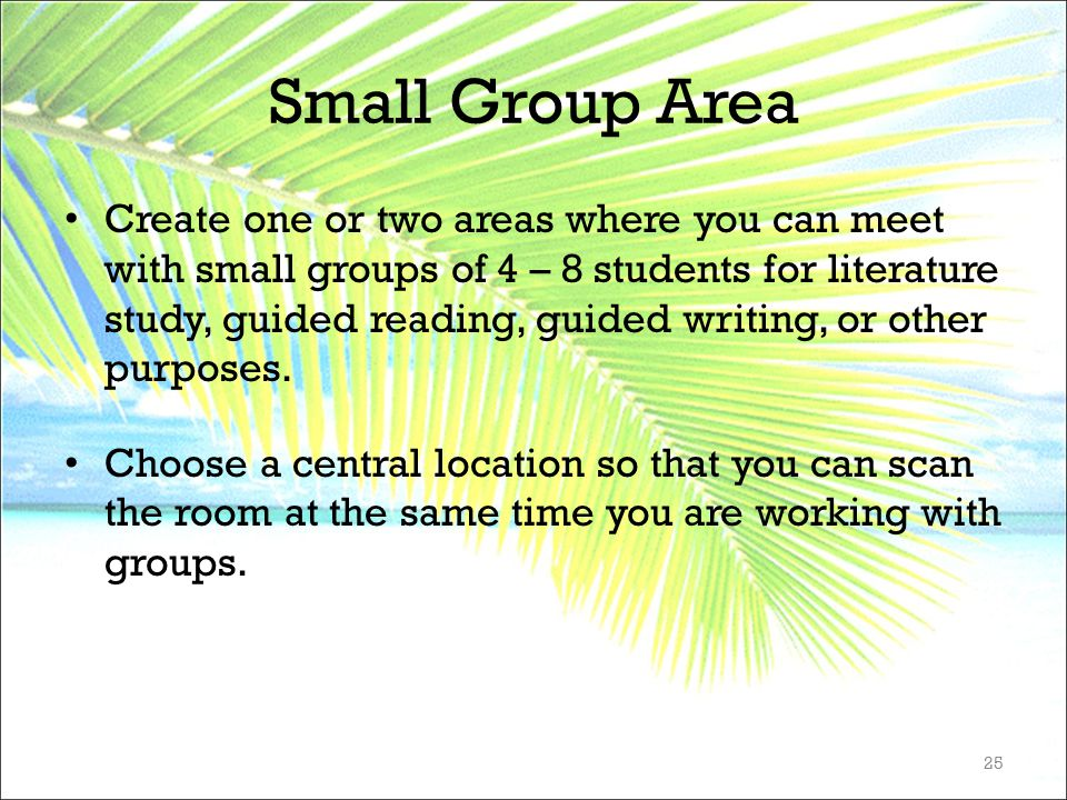 Small Group Area Create one or two areas where you can meet with small groups of 4 – 8 students for literature study, guided reading, guided writing,