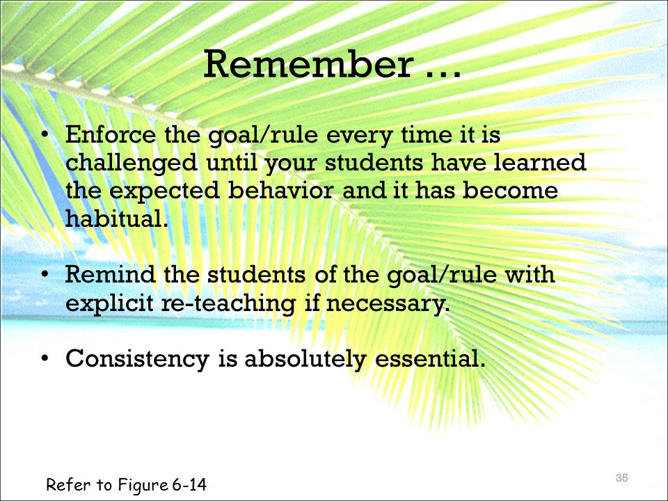 Remember … Enforce the goal/rule every time it is challenged until your students have learned the expected behavior and it has become habitual. Remind