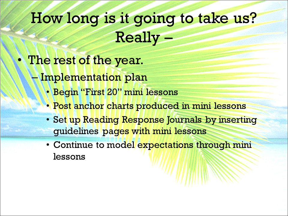 "How long is it going to take us? Really – The rest of the year. – Implementation plan Begin ""First 20"" mini lessons Post anchor charts produced in min"