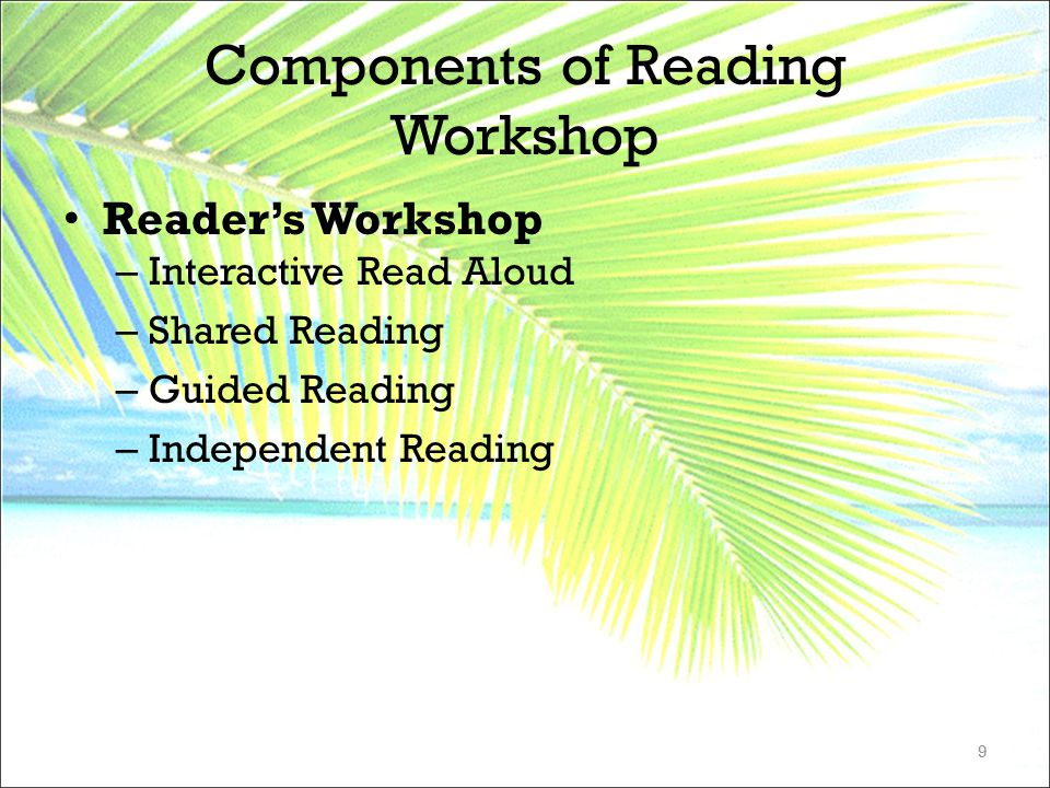Components of Reading Workshop Reader's Workshop – Interactive Read Aloud – Shared Reading – Guided Reading – Independent Reading 9