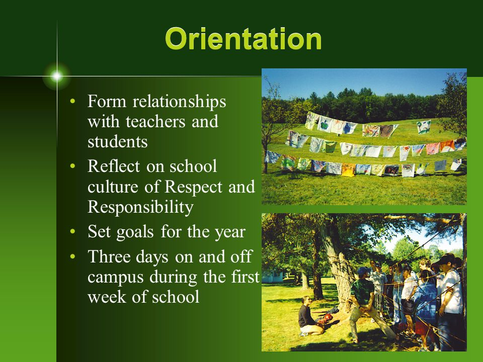 Freshman Transition Focus on Healthy Habits of Learning Listening, planning, Leading to Detracting, social skills Reflect on first months of school Overnight on Burleigh Mountain fall term
