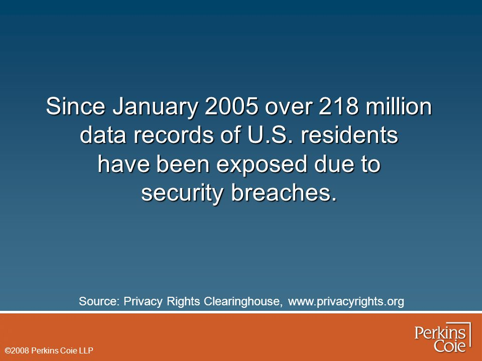 ©2008 Perkins Coie LLP Since January 2005 over 218 million data records of U.S. residents have been exposed due to security breaches. Source: Privacy