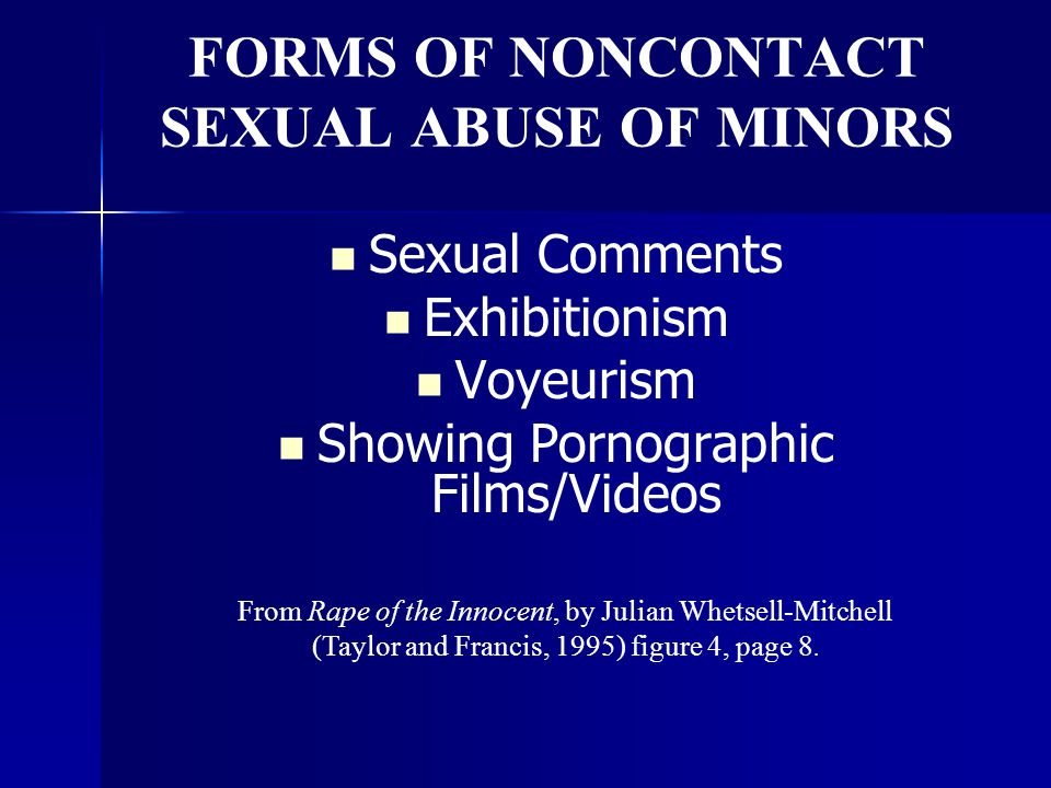 FORMS OF NONCONTACT SEXUAL ABUSE OF MINORS Sexual Comments Exhibitionism Voyeurism Showing Pornographic Films/Videos From Rape of the Innocent, by Julian Whetsell-Mitchell (Taylor and Francis, 1995) figure 4, page 8.