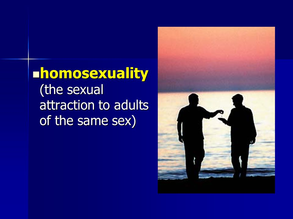 homosexuality (the sexual attraction to adults of the same sex) homosexuality (the sexual attraction to adults of the same sex)