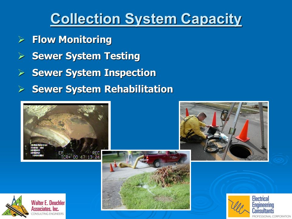 Collection System Capacity  Flow Monitoring  Sewer System Testing  Sewer System Inspection  Sewer System Rehabilitation