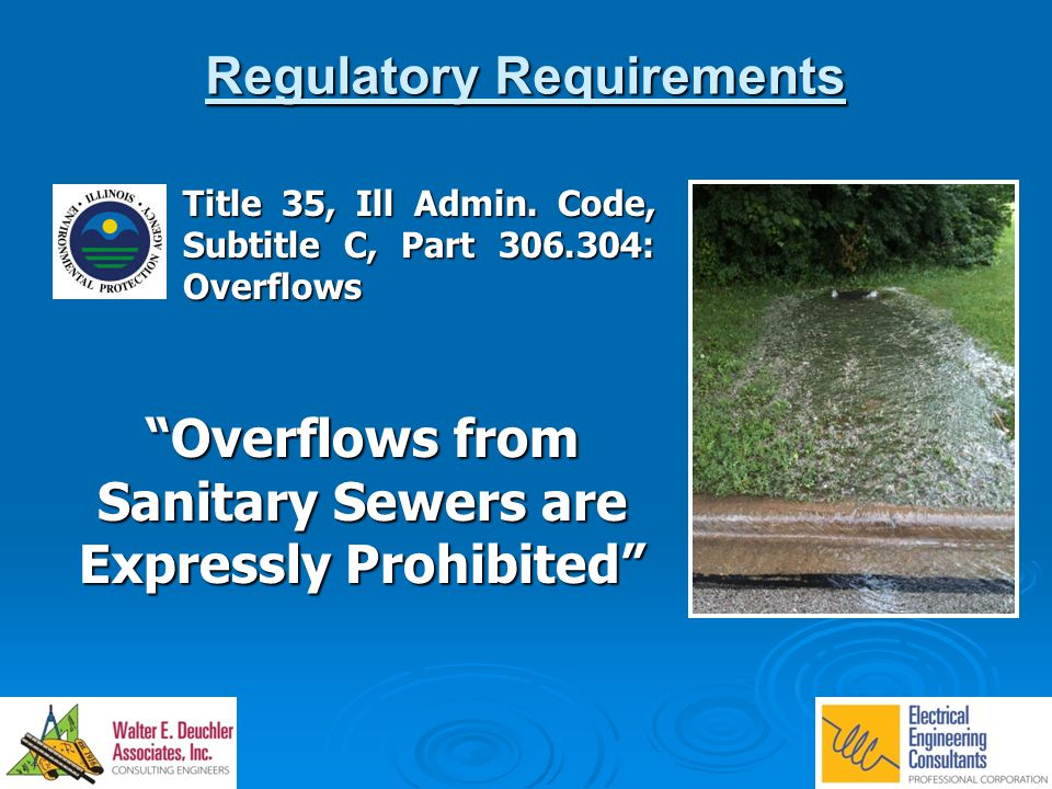 "Regulatory Requirements Title 35, Ill Admin. Code, Subtitle C, Part 306.304: Overflows ""Overflows from Sanitary Sewers are Expressly Prohibited"""
