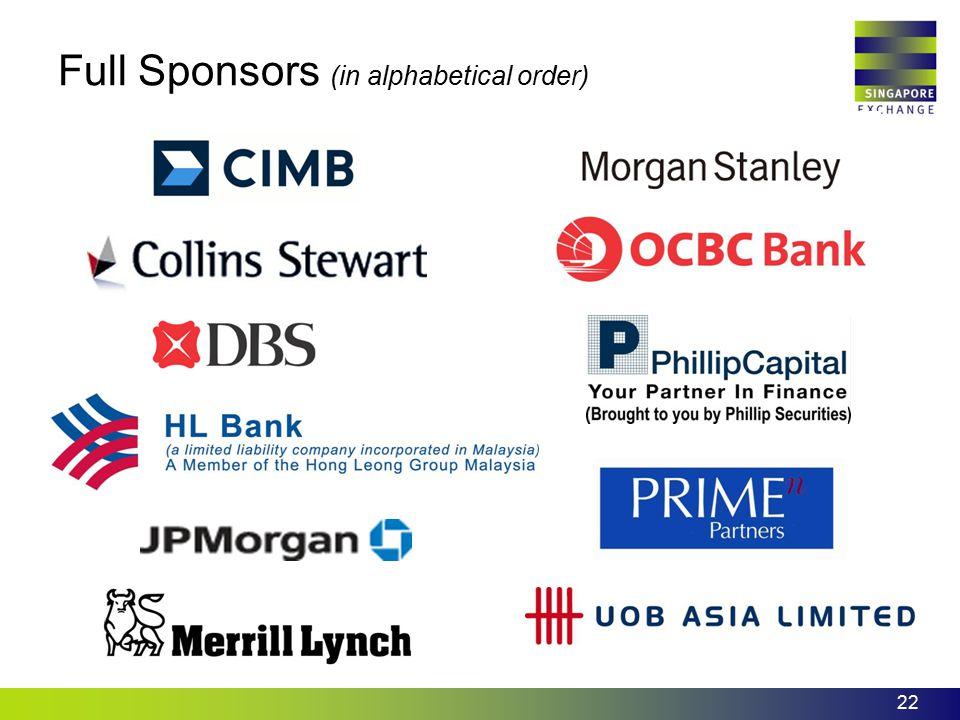 22 Full Sponsors (in alphabetical order)
